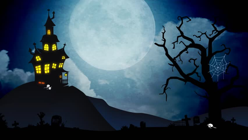 A Spooky Background Of A Haunted House With A Full Moon In The ...