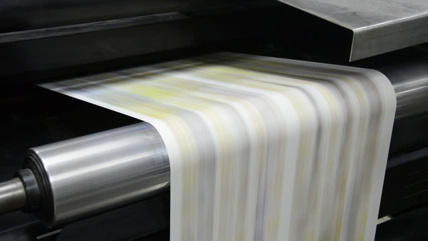 Web set Offset Press Printing Today Newspaper, Close up - Stock Video. Large web