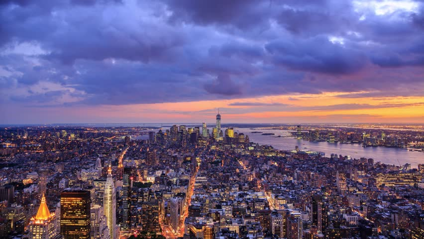 New York City Manhattan aerial panorama cityscape skyline. Transition from sunset to night. Timelapse. | Shutterstock HD Video #4801226