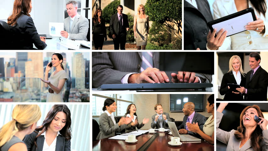 Fly though montage of multi-ethnic executive business managers at work | Shutterstock HD Video #4805993