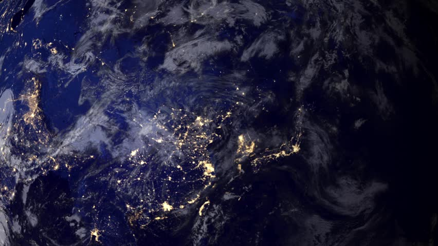 Telecommunication satellite over Asia, night view from space.. Cinema quality 3D