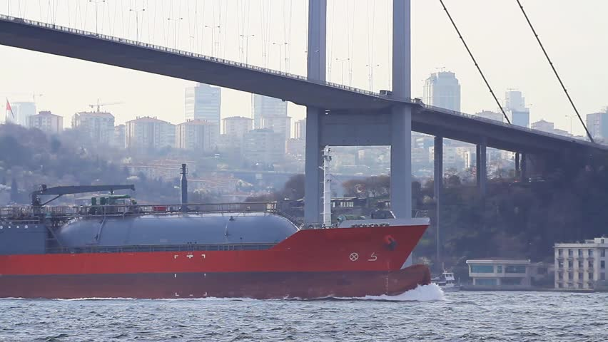 LPG Tanker Ship sailing in Bosporus waters in Istanbul. Its designed for