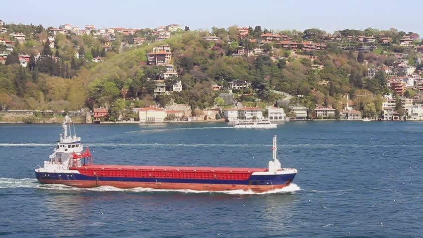 Dry Cargo Ship Sailing in Bosphorus Sea.