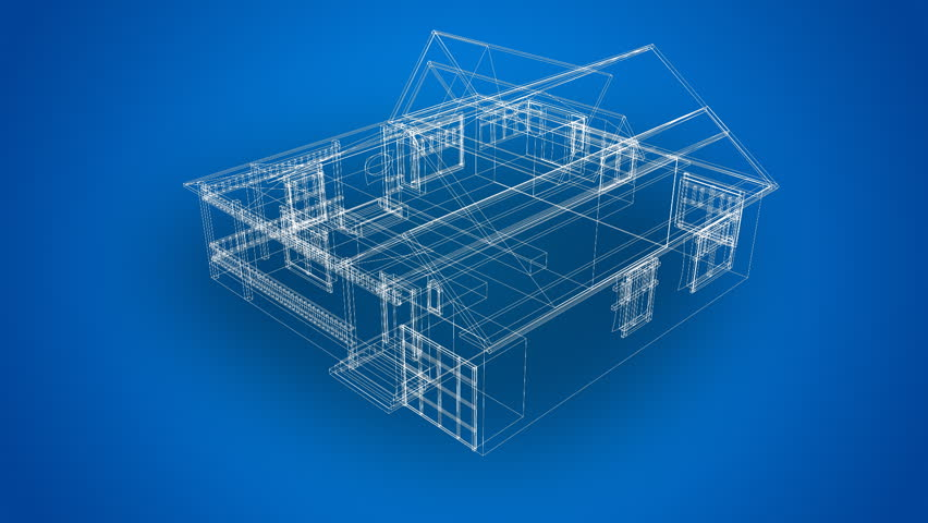 Wire frame 3d house stock footage video 489856 shutterstock for House blueprint images
