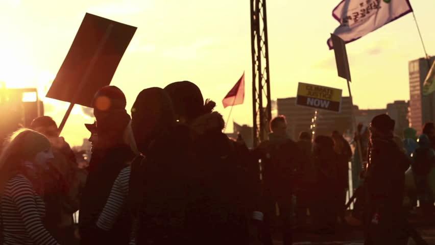 COPENHAGEN, DENMARK - CIRCA 2009: Protesters march in a parade.