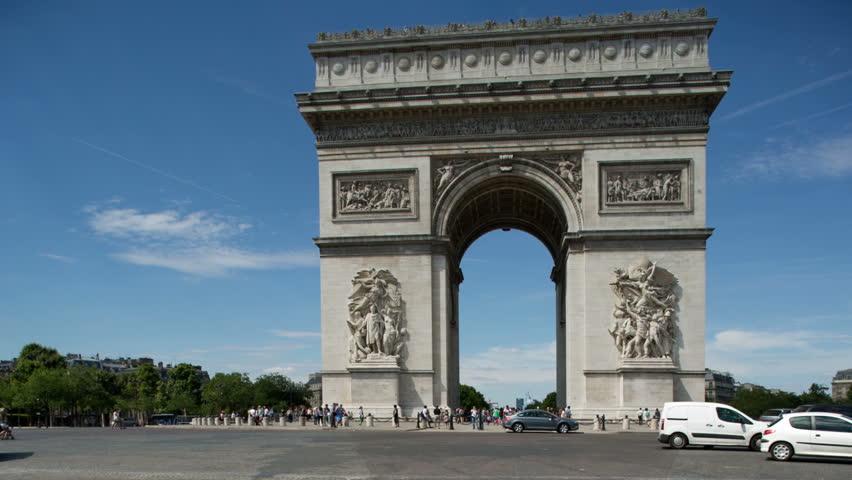 paris france july 25 2013 car traffic near famous landmark arc de triomphe triumphal arch. Black Bedroom Furniture Sets. Home Design Ideas
