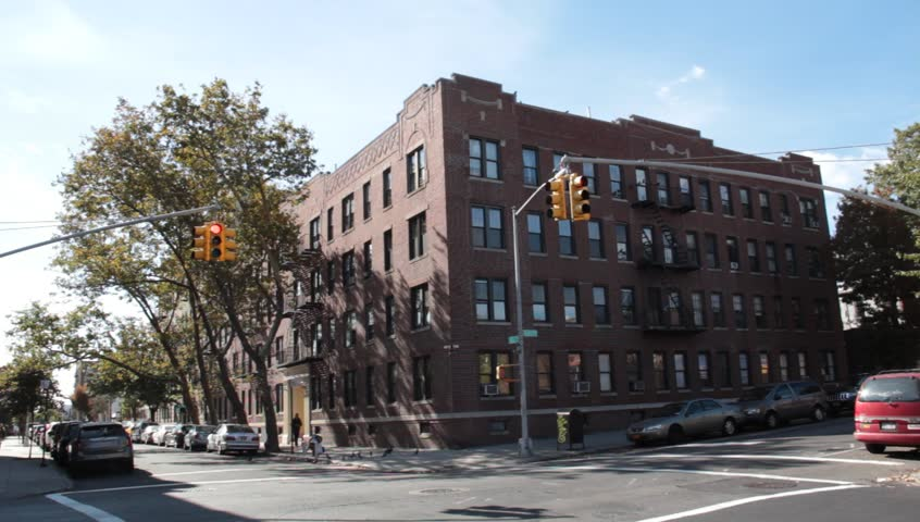 Typical Queens Apartment Building In Astoria Fall Stock
