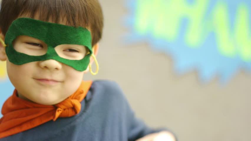 Little Boy Practices Superhero Moves | Shutterstock HD Video #4986389