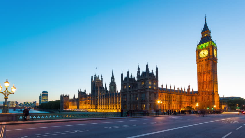 Time lapse footage of rush hour traffic on Westminster Bridge in London with Houses of Parliament and Big Ben in the background, London, England, United Kingdom | Shutterstock Video #4997204