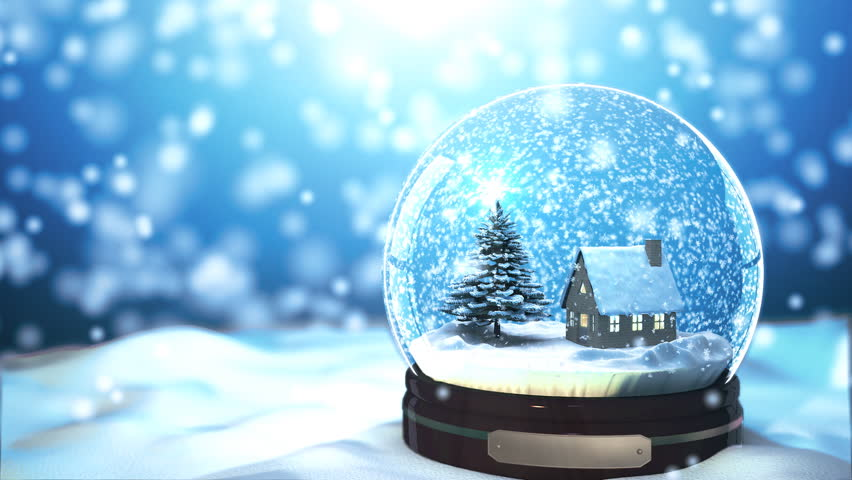 Christmas Snow globe Snowflake with Snowfall on Blue Background | Shutterstock HD Video #5007479