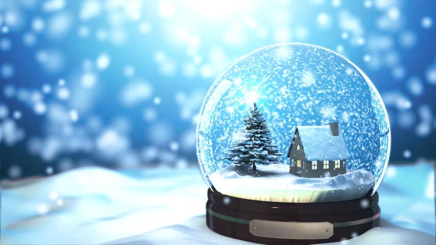 Christmas Snow globe Snowflake with Snowfall on Blue Background #5007479