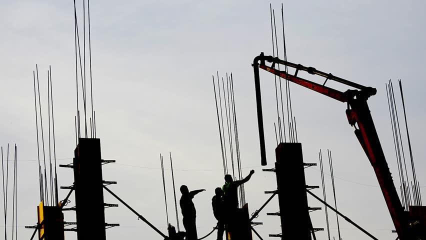 building skyscraper construction site, time lapse silhouette crane working