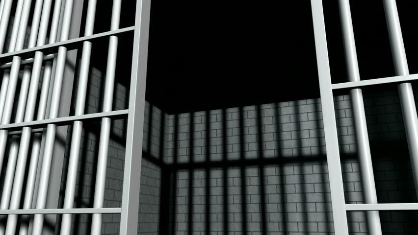 A static camera closeup of the door slamming shut a brick jail cell with iron bars & Slam Door Stock Footage Video - Shutterstock Pezcame.Com