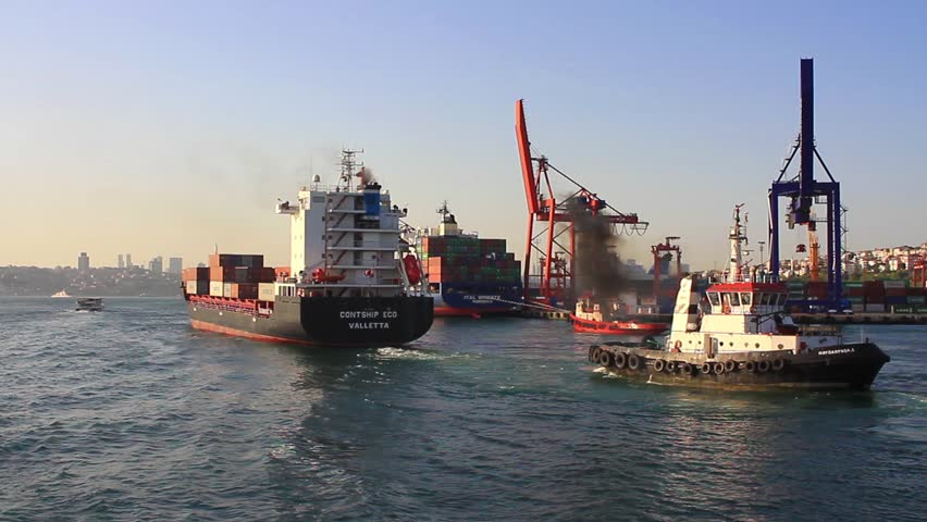 ISTANBUL - APR 29: Cargo Container ship CONTSHIP ECO (IMO: 9492751, Malta) sails