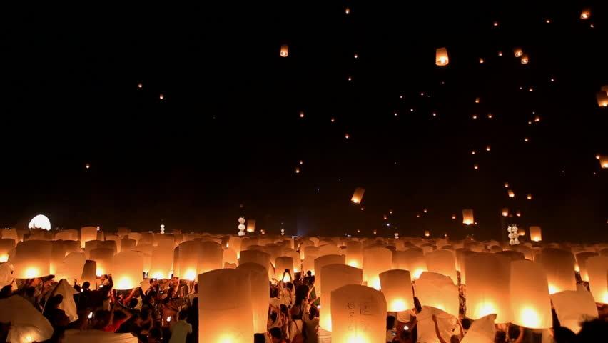 Floating lanterns in Yee Peng Festival, Loy Krathong celebration in Chiangmai, Thailand. | Shutterstock HD Video #5084363