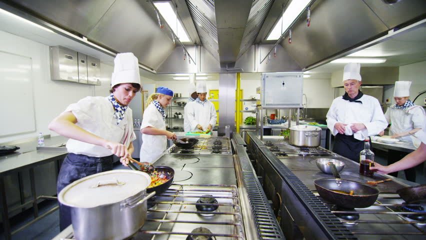professional chefs preparing and cooking food in a commercial kitchen