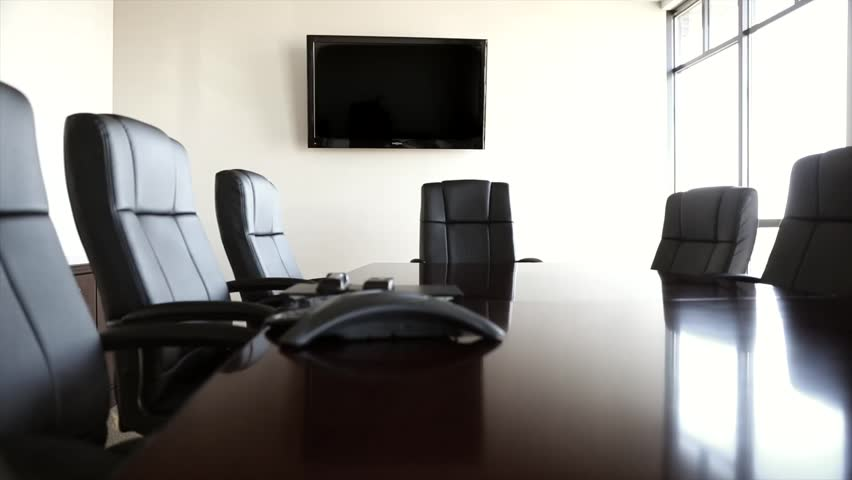office conference room chairs dolly shot hd stock video clip