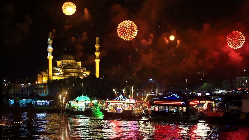 Eminonu Harbor, Istanbul New Year Eve. Amazing fireworks all around the city.