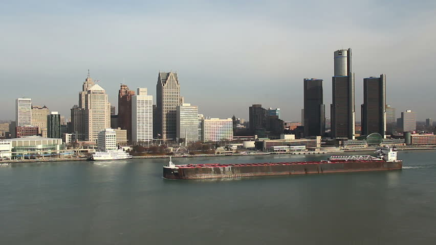 DETROIT - CIRCA NOVEMBER 2013: City skyline during a cold winter morning with a