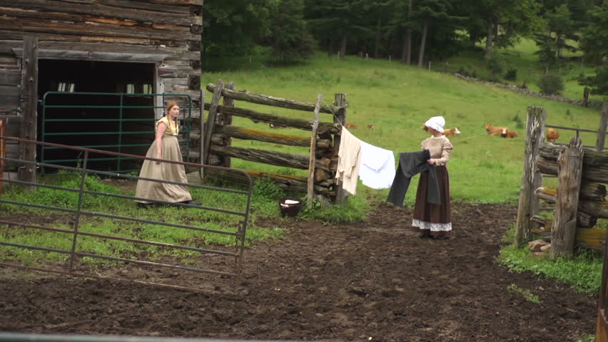 Family of Settlers on Farm in costumes