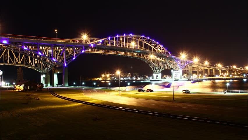 Blue Water Bridge Night Timelapse. The Blue Water Bridge connecting Port Huron,