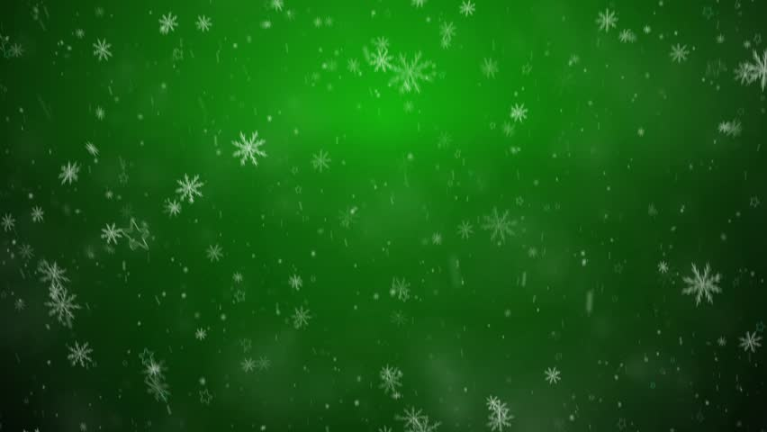 Beautiful Falling Snowflakes - Green Winter Background ...