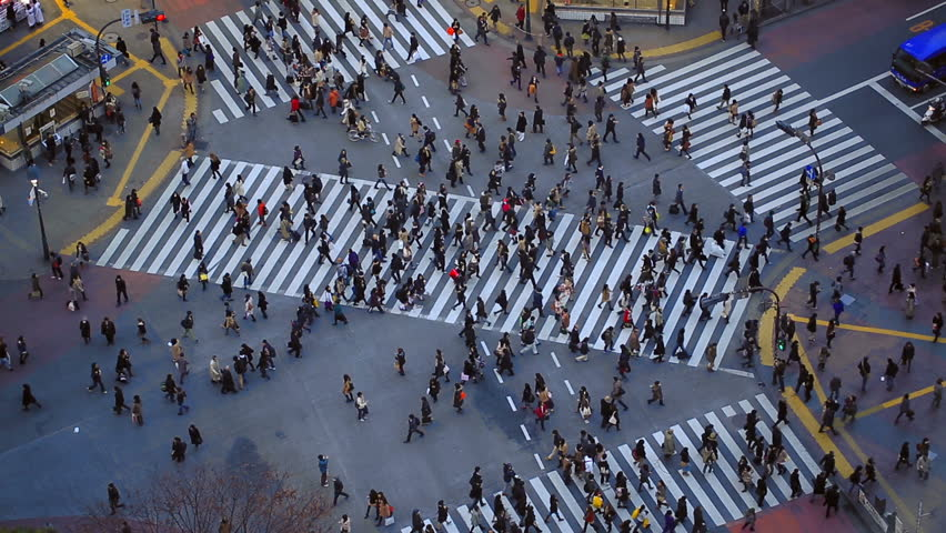 City pedestrian traffic of people crossing the famous Shibuya intersection in Tokyo. #5289929