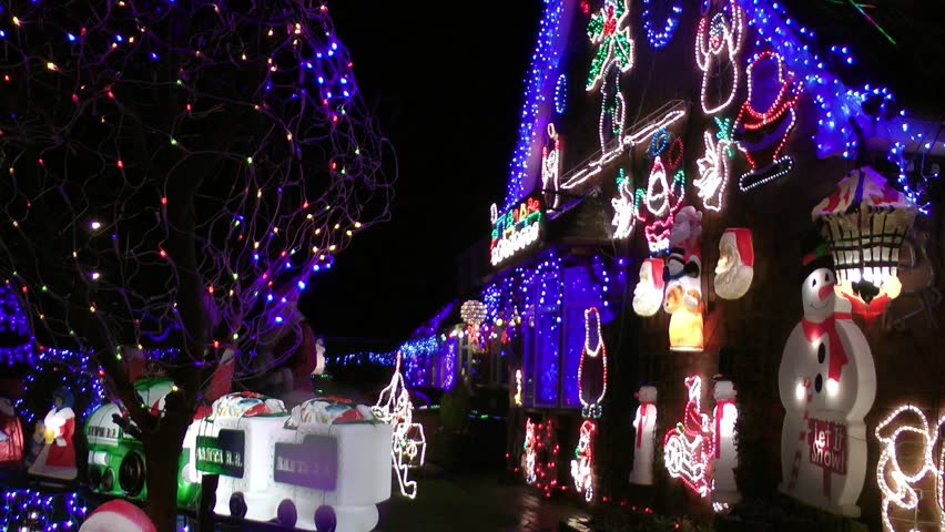 House Decorated With Colorful Christmas Lights For Christmas Holidays