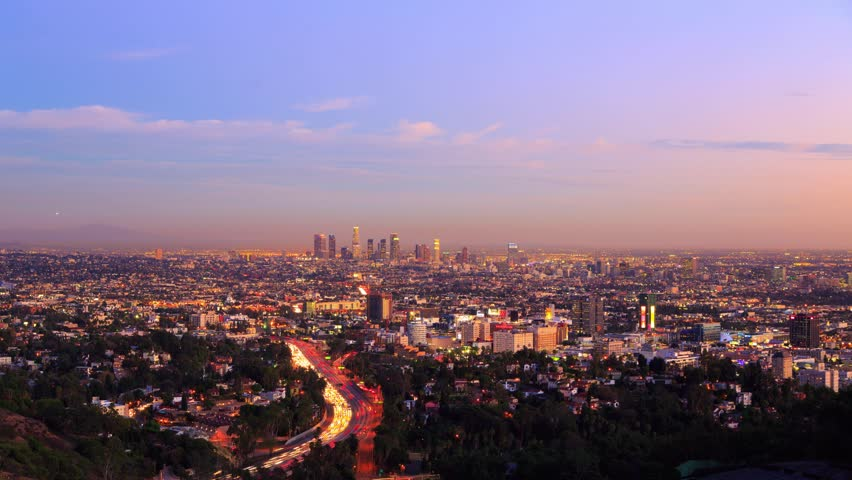 Los Angeles city timelapse. Transition from sunset to night. View from Hollywood Hills on freeway 101 and downtown LA. 4K | Shutterstock HD Video #5360003