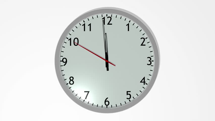 Animated Clock Counting Down 12 Hours Over 12 Seconds. Seamlessly ...