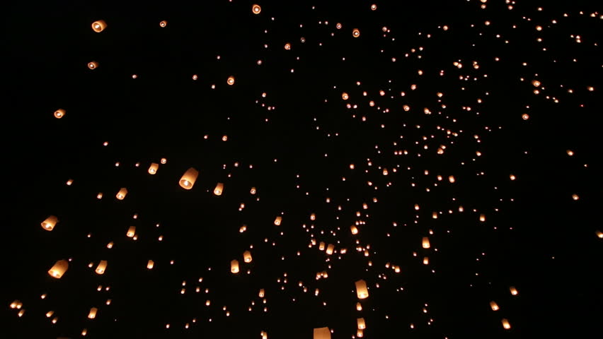 Floating lanterns in Yee Peng Festival, Loy Krathong celebration in Chiangmai, Thailand. | Shutterstock HD Video #5388593