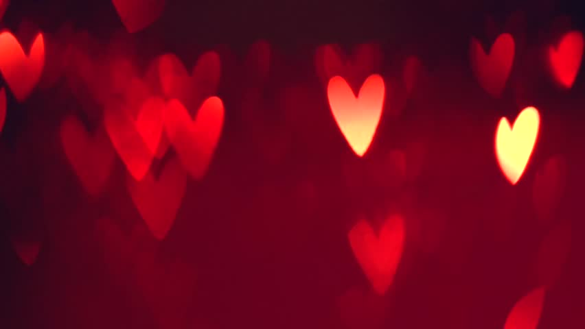 Bokeh Heart Shape Of Light Background Stock Footage Video: Valentine Hearts Background. Abstract Red Blinking Heart