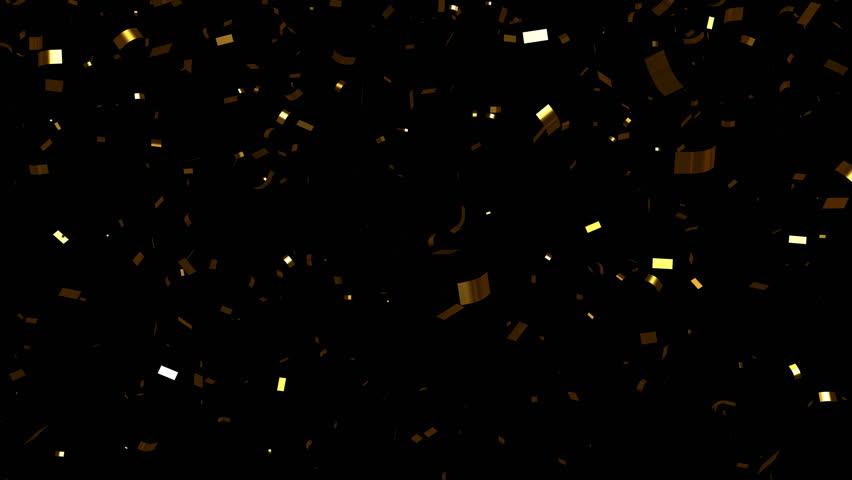 Falling gold foil confetti. With luma matte