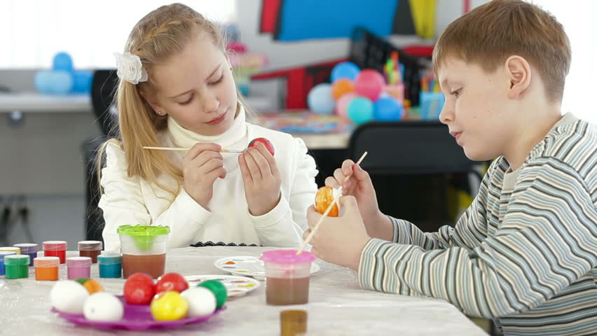 Kids Painting Easter Eggs Stock Footage Video 5442149 - Shutterstock