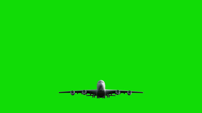 Computer rendering of the flying jumbo jet plane with green screen. #5469713