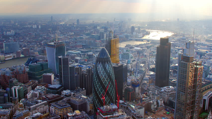 4K Aerial shot of Central London with view of the River Thames, The City Financial District, Liverpool Street, Gherkin, London Eye, Blackfriars, Tate Modern, St Paul's Cathedral | Shutterstock Video #5522564