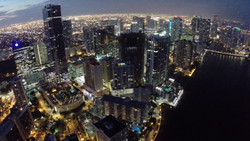 Aerial video footage of Brickell Miami at night