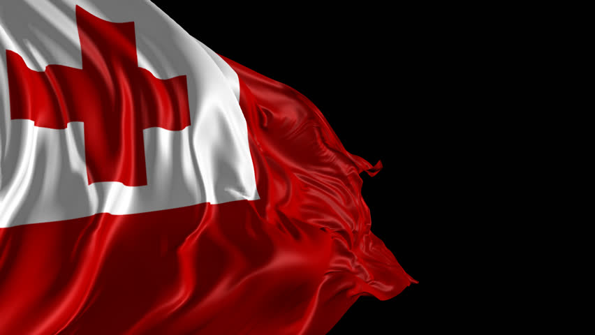 Flag Of Tonga Beautiful 3d Animation With Alpha Channel
