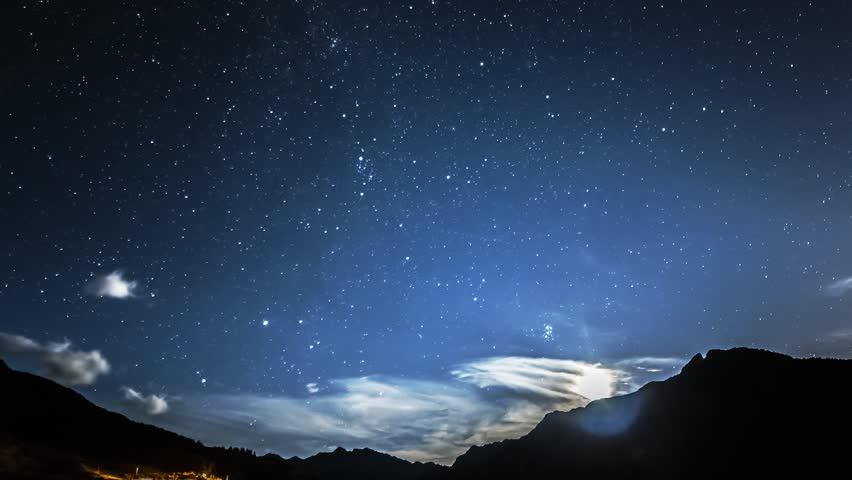 timelapse stars and moon in mountain night sky. Moonrise | Shutterstock Video #5561801