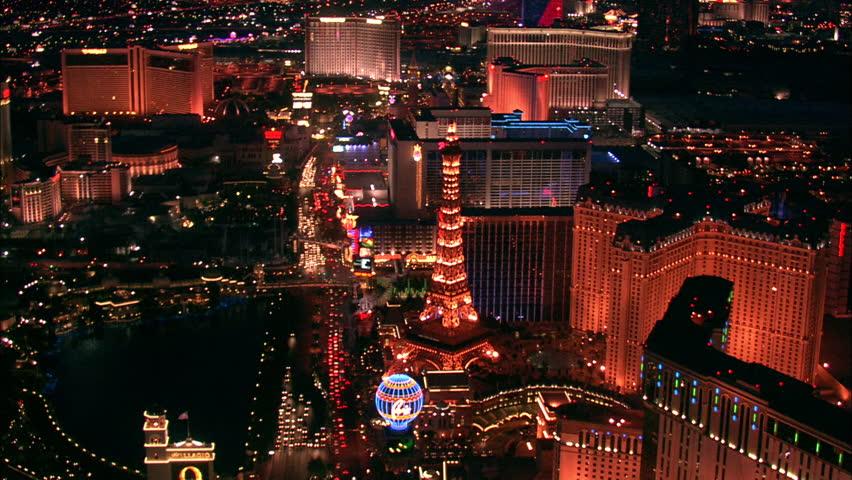 LAS VEGAS, USA - 1 January 2011 - Hotel Strip Night Las Vegas. Aerial footage of the Las Vegas strip at night. Beautiful hotel and skyscrapers light up the city skyline.