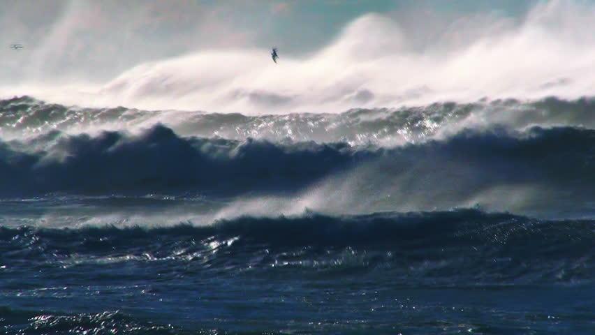 Ocean waves storm sea spray