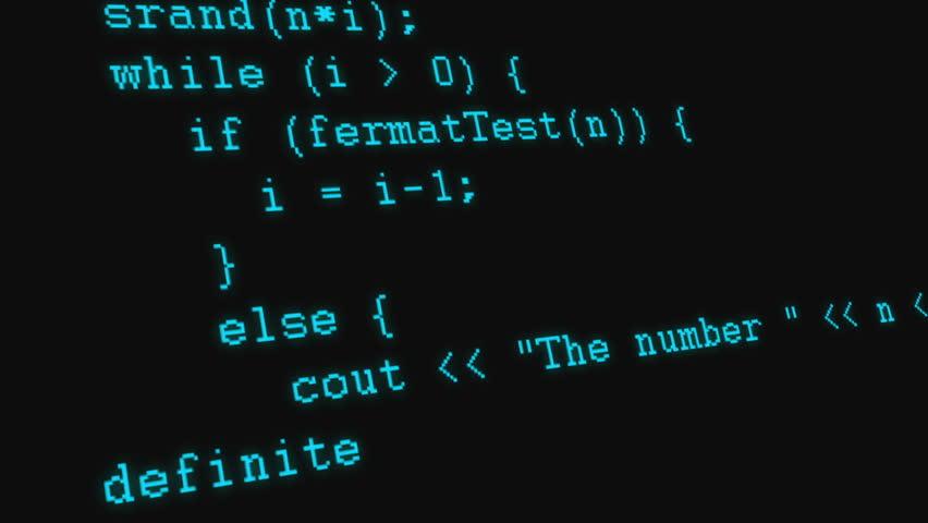 C++ programming code running down a computer screen terminal | Shutterstock HD Video #5586110