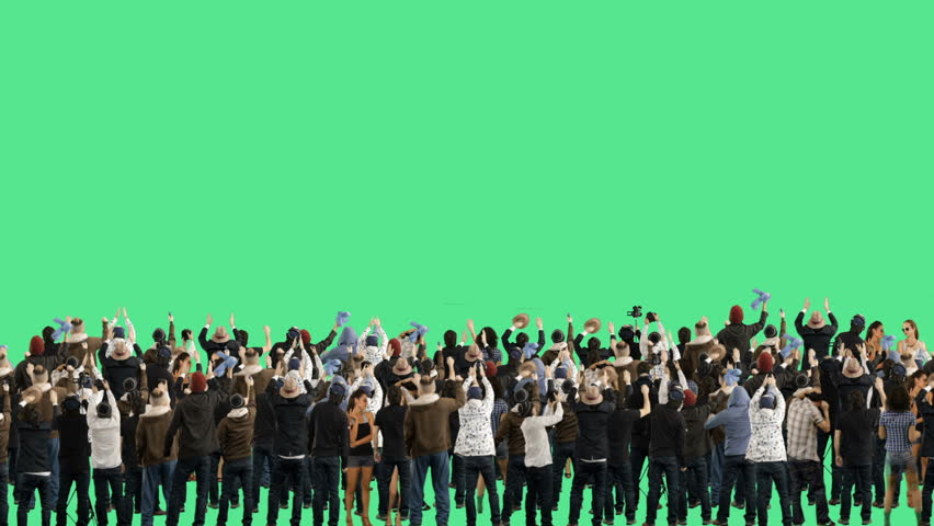 Crowd of people. Green screen. These people are real, shot on green screen.  #5587403
