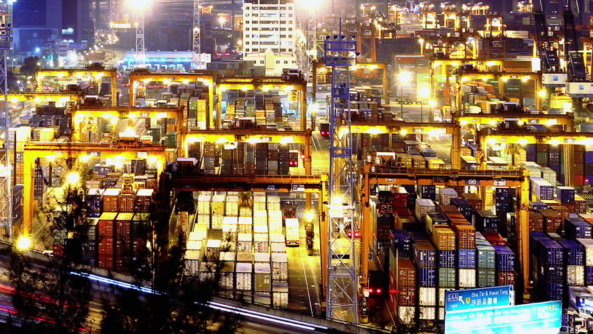 Containers Port Timelapse at Night. Hong Kong....