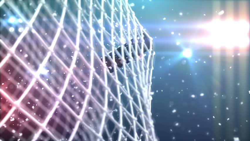 4k the puck flies to gate, beautiful 3d animation.   Shutterstock Video #5643131