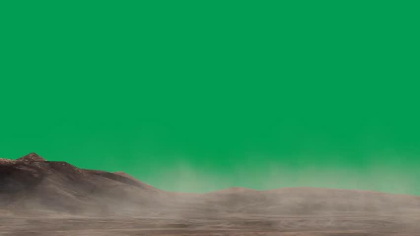sand storm in the desert - green screen