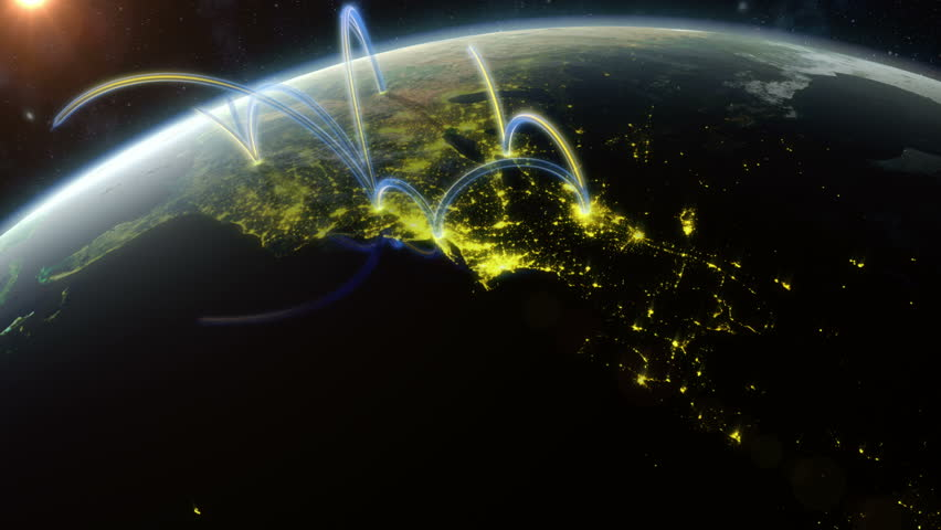 Global Network. Animation showing a data network spreading across the world. Created in 4K. Check out a 4k still here: http://www.lucidpixel.nl/img/Stills/GlobalNetwork_4K.jpg