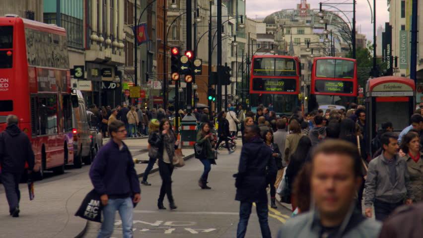 LONDON, UK - OCTOBER 8, 2011: Oxford Street slow motion.