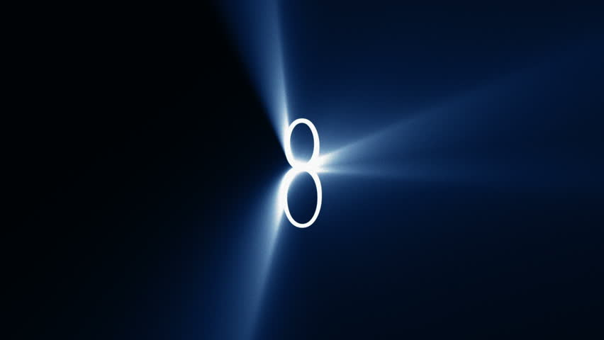 Countdown 10 to 1 with Blue Light Rays (25fps)