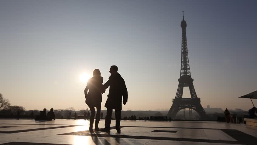 Happy couple near Eiffel tower in Paris, France   Shutterstock HD Video #5841014